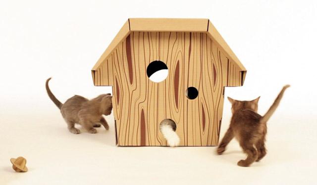 домик-конура для кошки с котятами