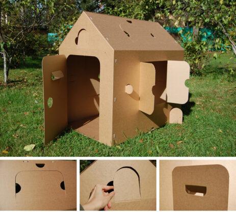 как сделать будку из картона